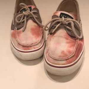 Tie-dyed Sperry loafers